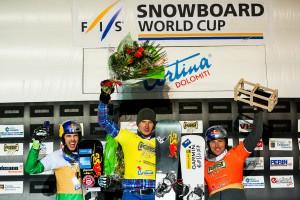 FIS Snowboard World Cup - Cortina d'Ampezzo ITA - PSL - Men's podium with 2nd FISCHNALLER Roland ITA, 1st SOBOLEV Andrey RUS, 3rd KARL Benjamin AUT © Miha Matavz