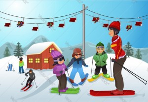 A vector illustration of ski instructor teaching children how to ski
